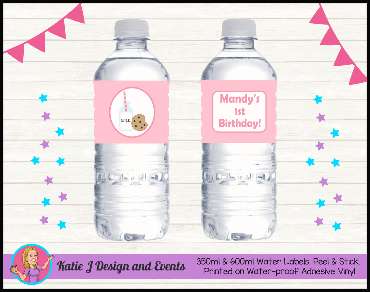 Personalised Girls Milk & Cookies Party Water Labels