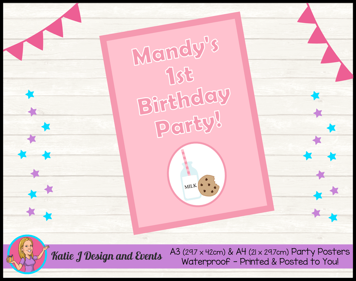 Personalised Girls Milk & Cookies Birthday Party Poster