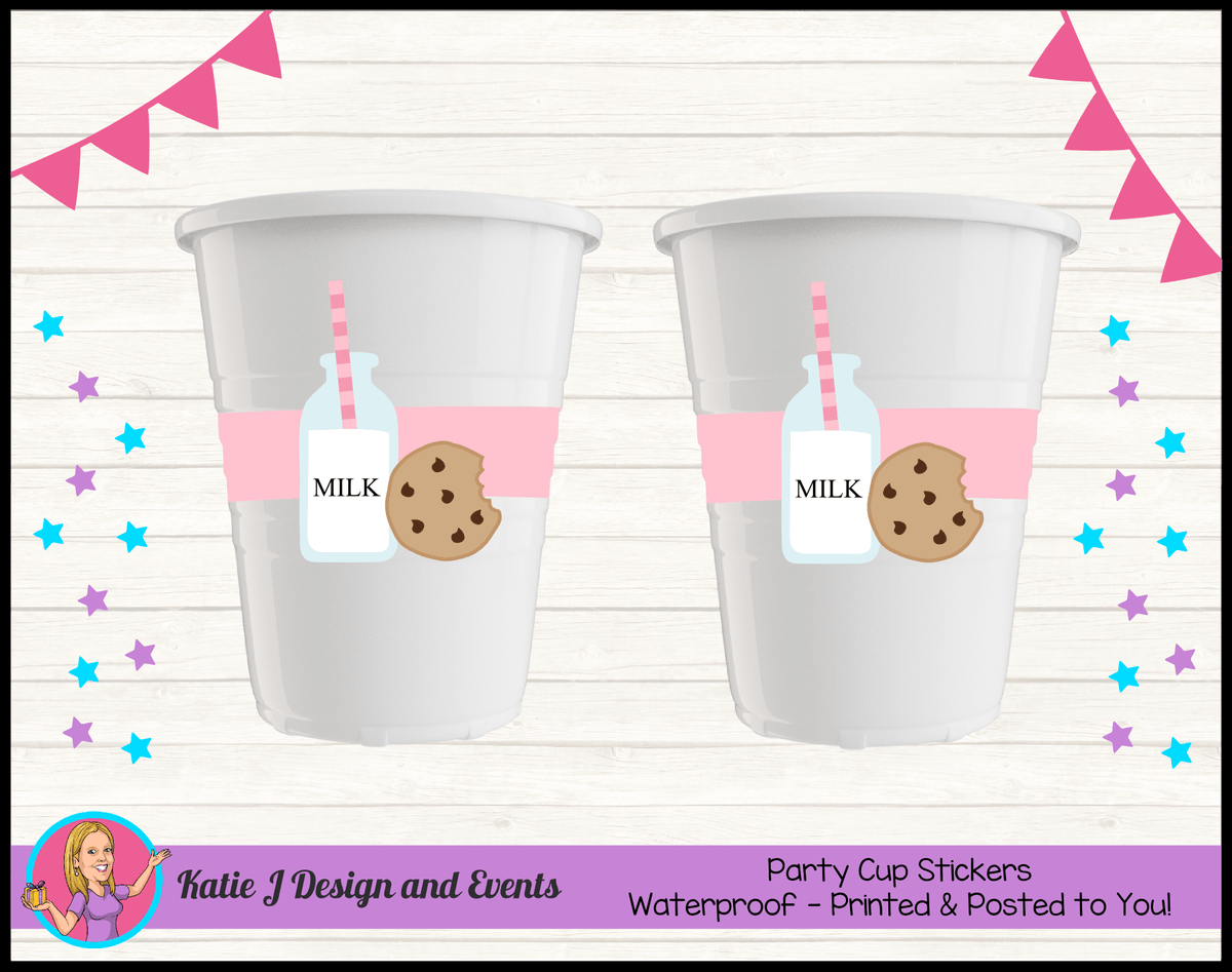 Personalised Girls Milk & Cookies Birthday Party Decorations