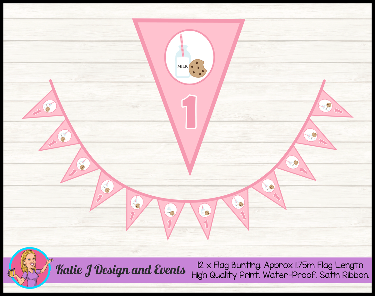Personalised Girls Milk & Cookies Birthday Party Flag Bunting