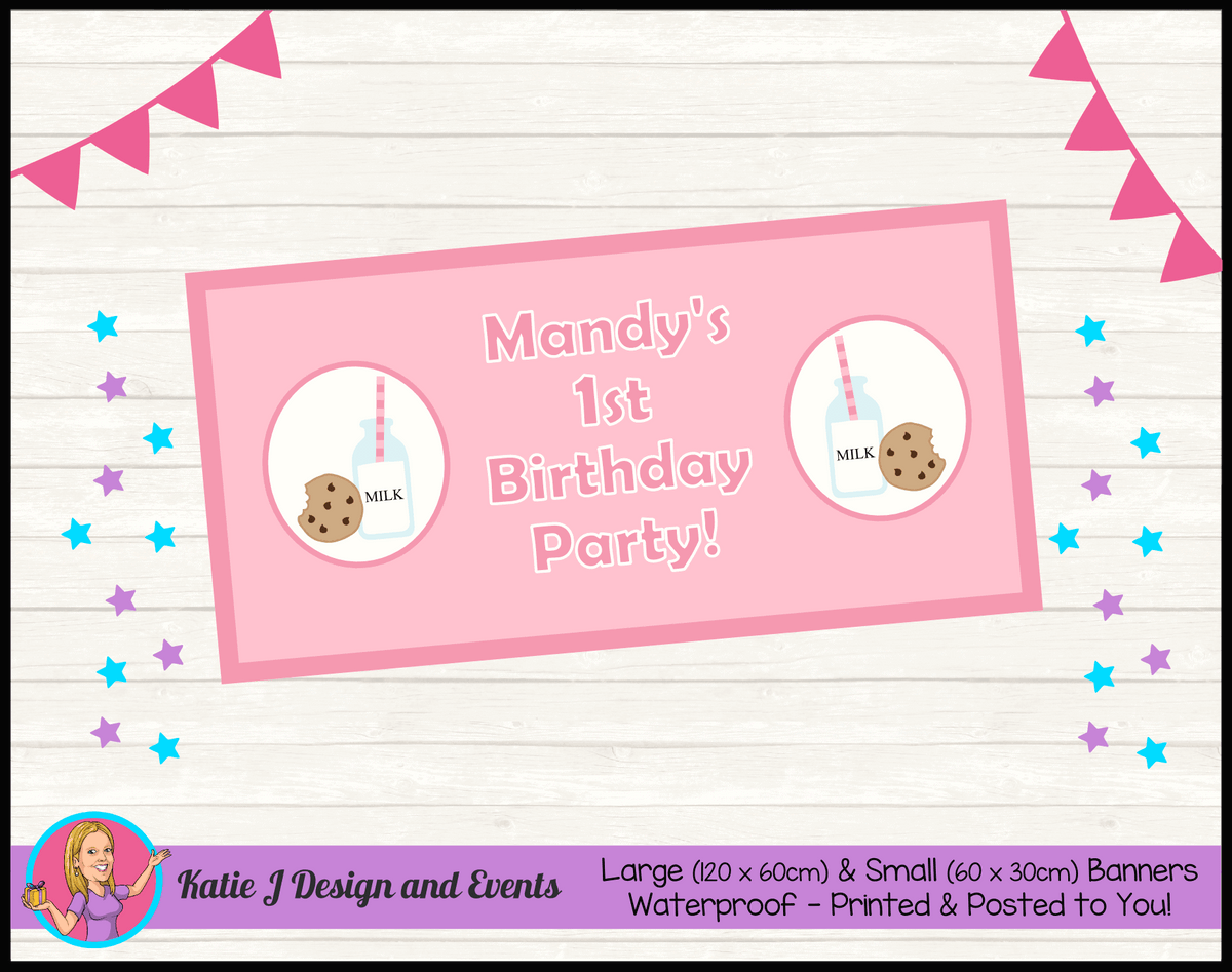 Personalised Girls Milk & Cookies Birthday Party Banner