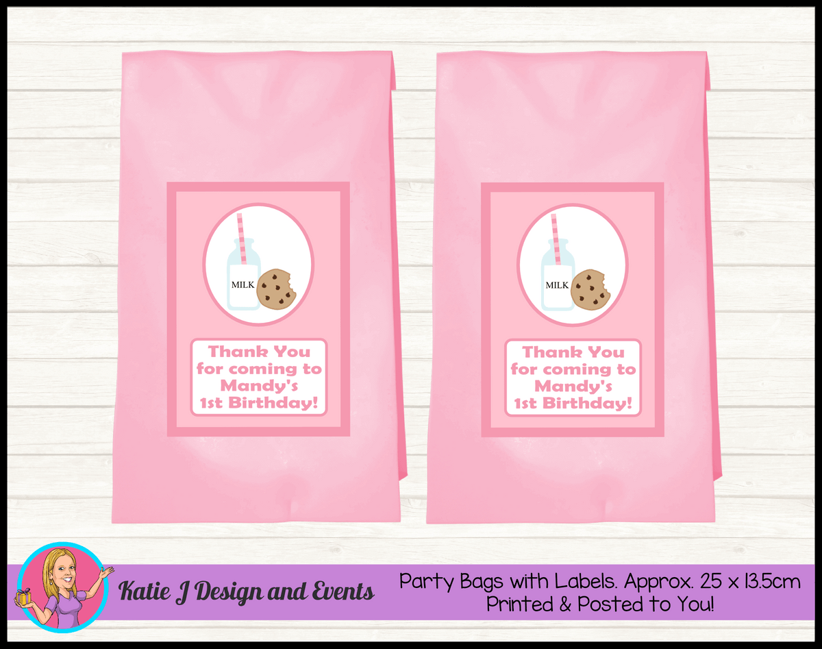Personalised Girls Milk & Cookies Birthday Party Loot Bags