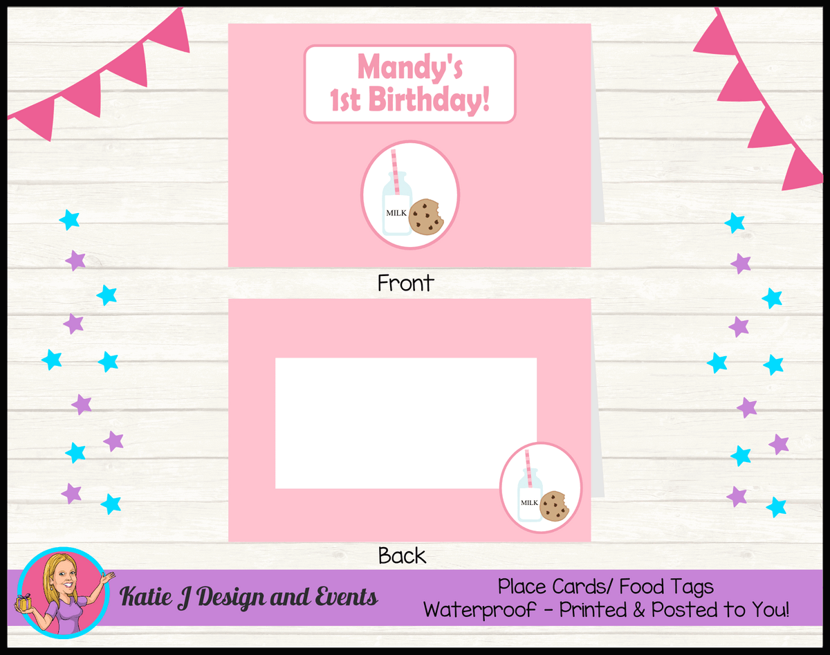 Personalised Girls Milk & Cookies Party Place Cards