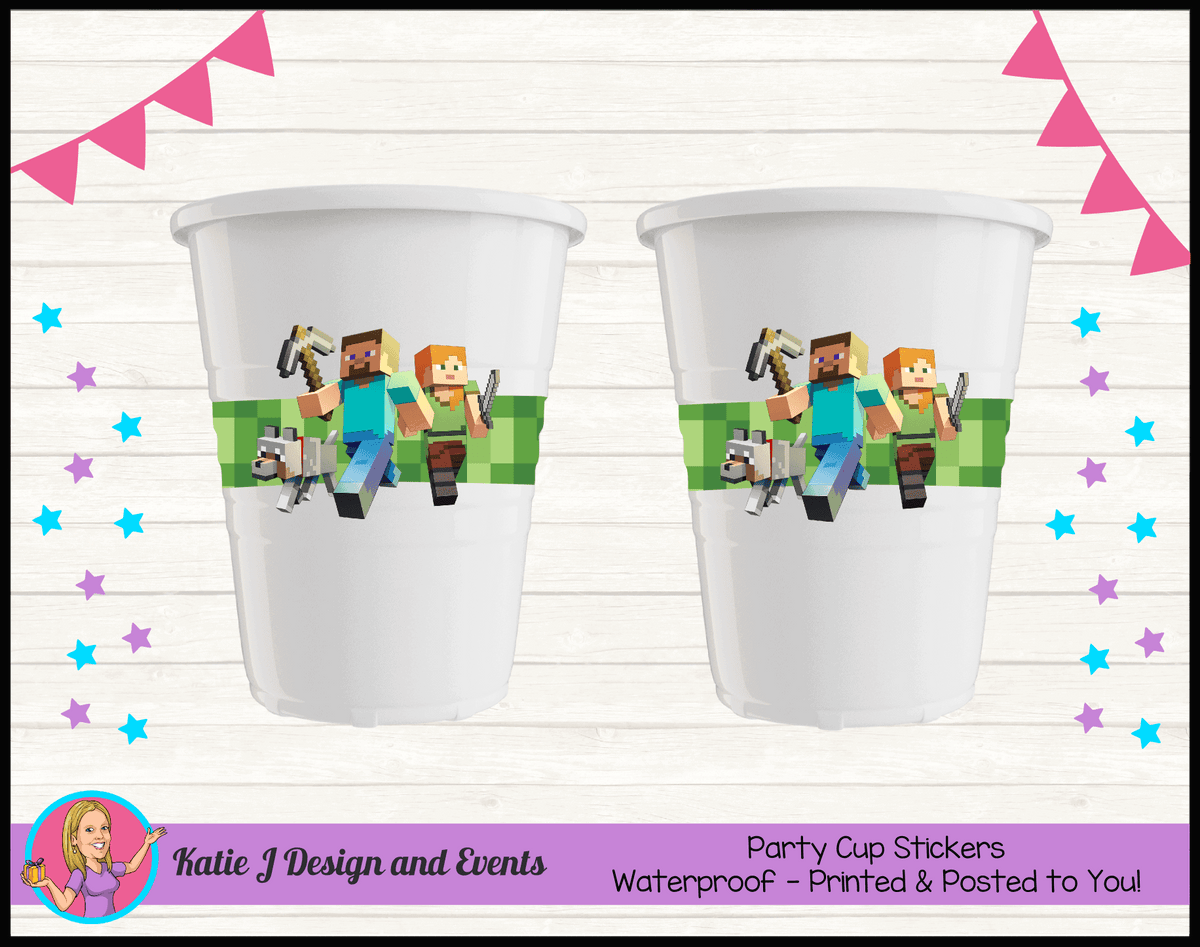 Personalised Minecraft Party Cup Stickers Cups