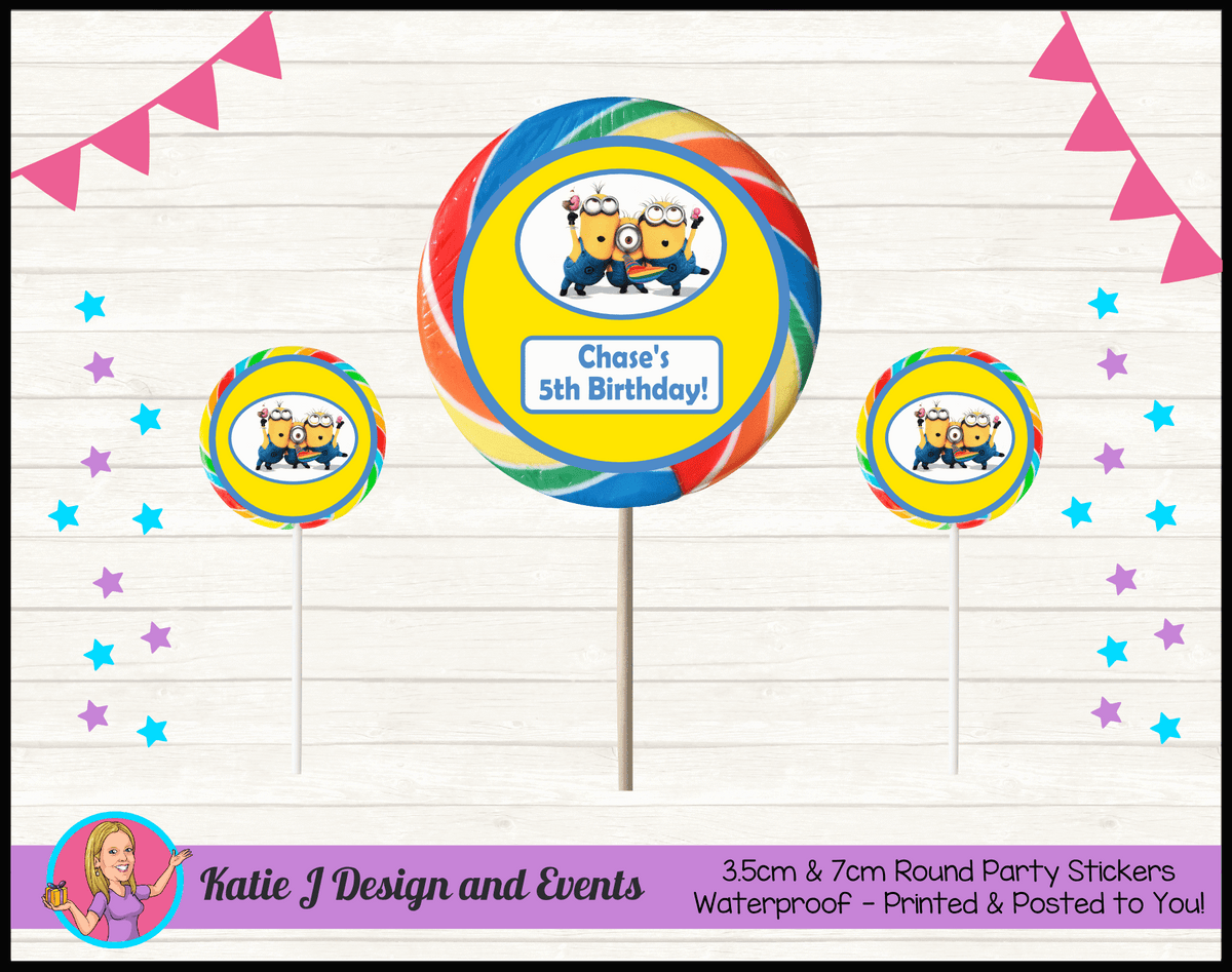 Personalised Minions Round Lollipop Stickers
