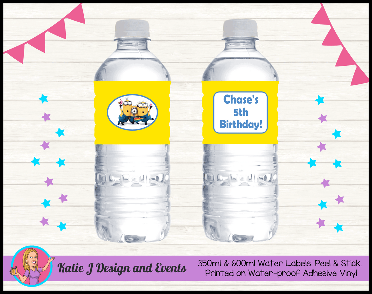 Personalised Minions Party Water Labels