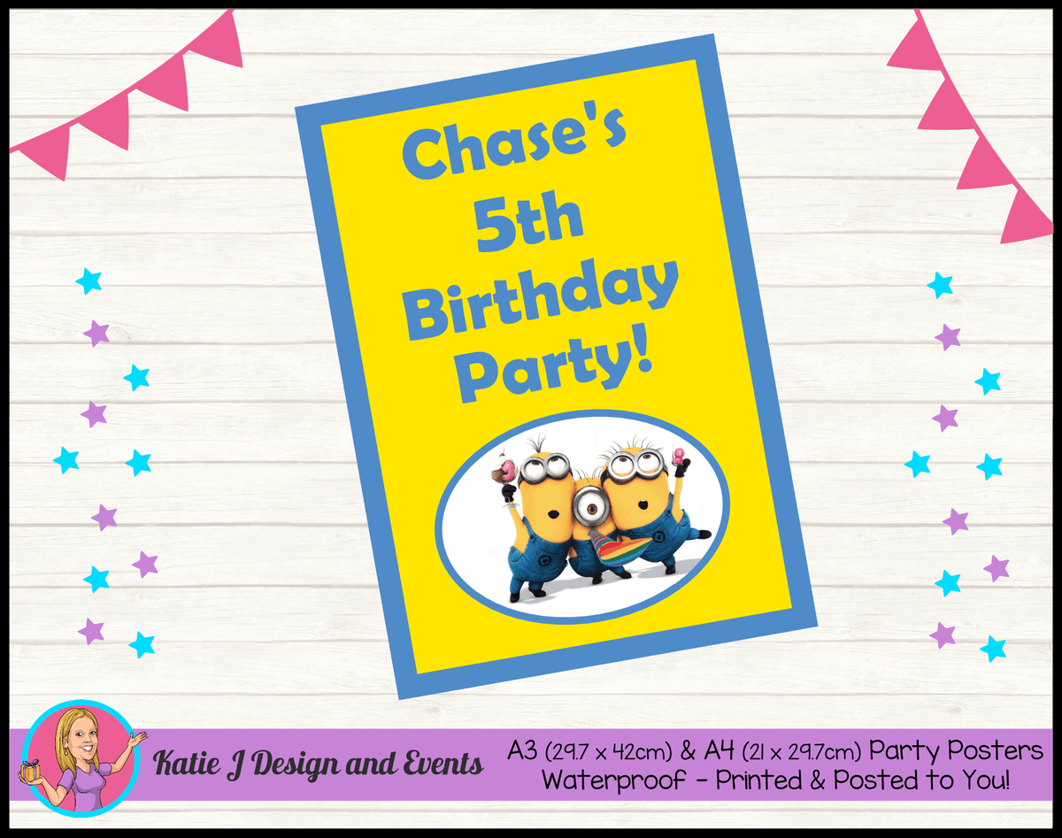 Personalised Minions Birthday Party Poster