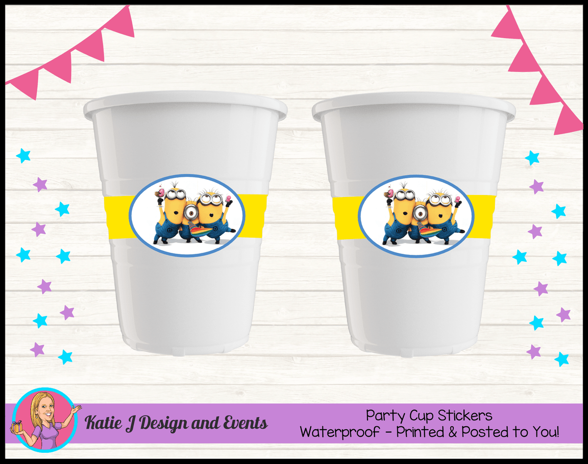 Personalised Minions Party Cup Stickers Cups