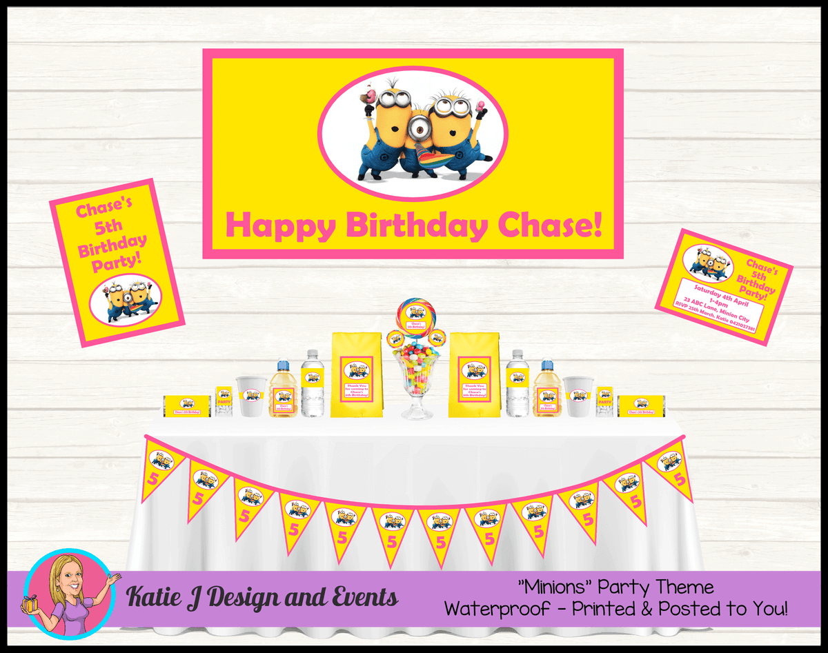 Personalised Girls Minions Party Packs Decorations Supplies