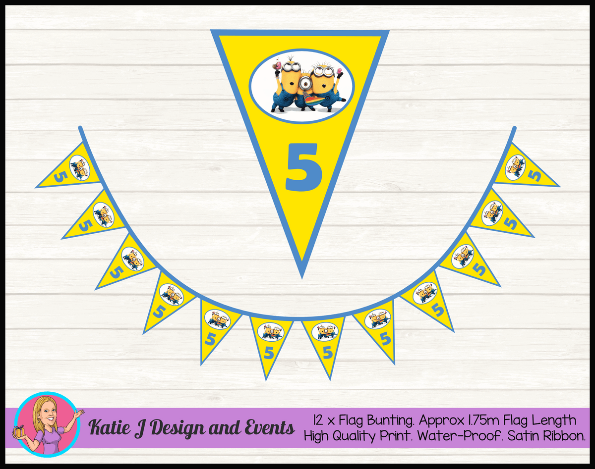 Personalised Minions Birthday Party Flag Bunting
