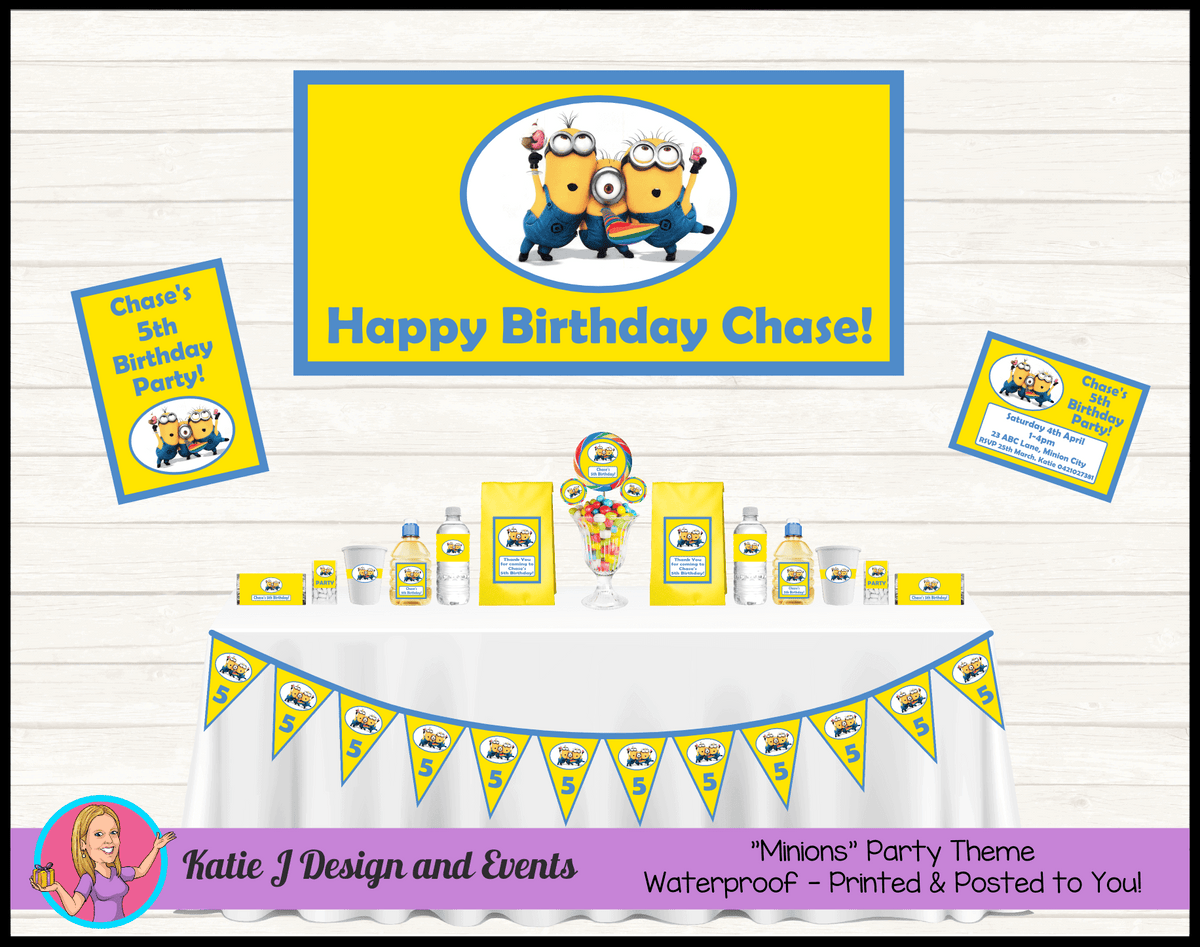 Personalised Boys Minions Party Packs Decorations Supplies