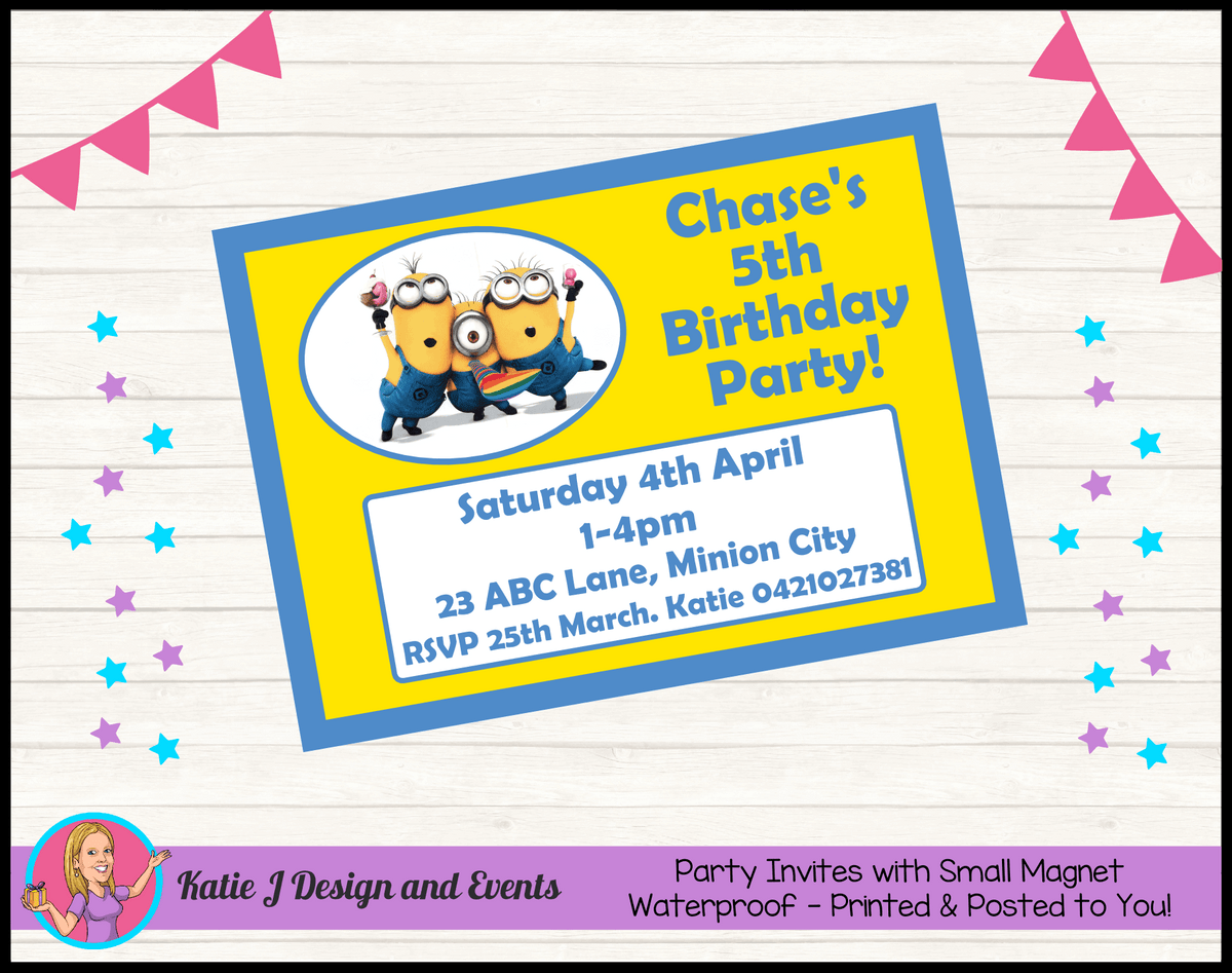 Personalised Minions Birthday Party Invites Invitations