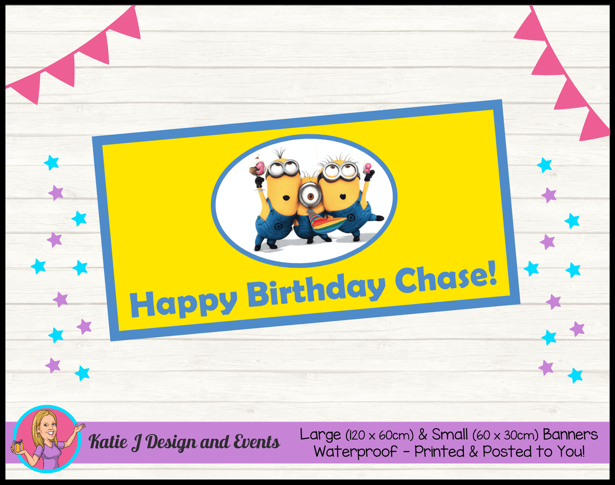Personalised Minions Birthday Party Banner