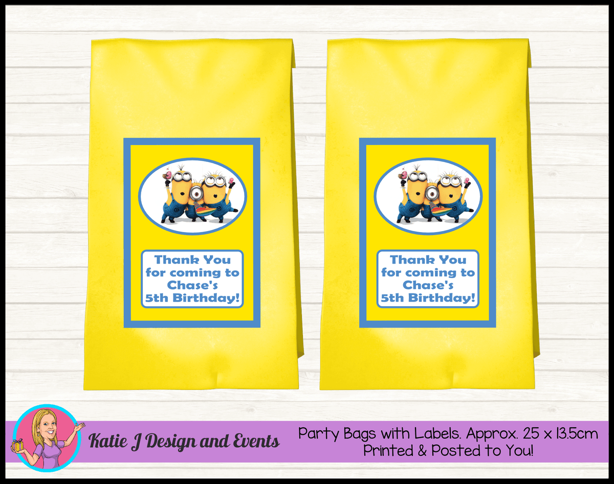 Personalised Minions Birthday Party Loot Bags