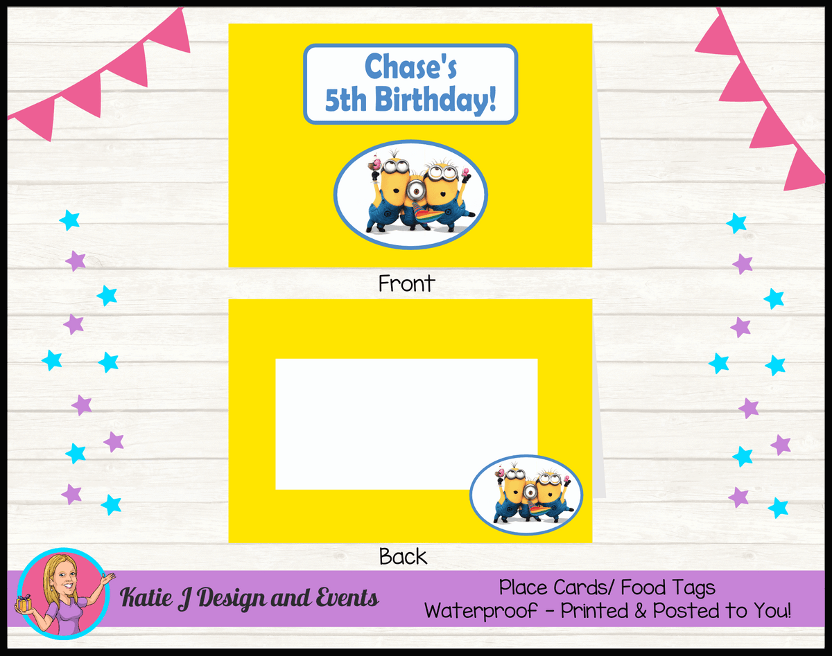 Personalised Minions Party Place Cards