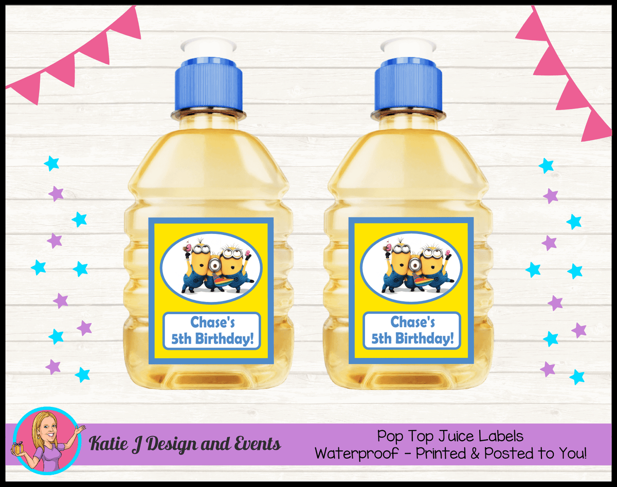 Personalised Minions Pop Top Juice Labels