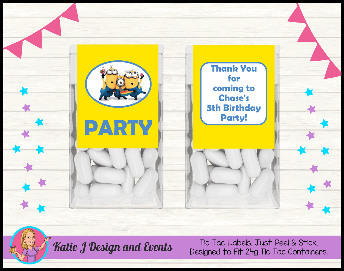 Personalised Minions Tic Tac Mint Labels