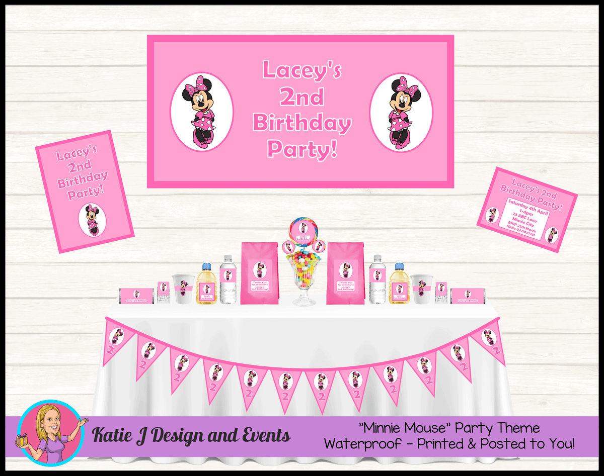 Personalised Pink Minnie Mouse Party Packs Decorations Supplies
