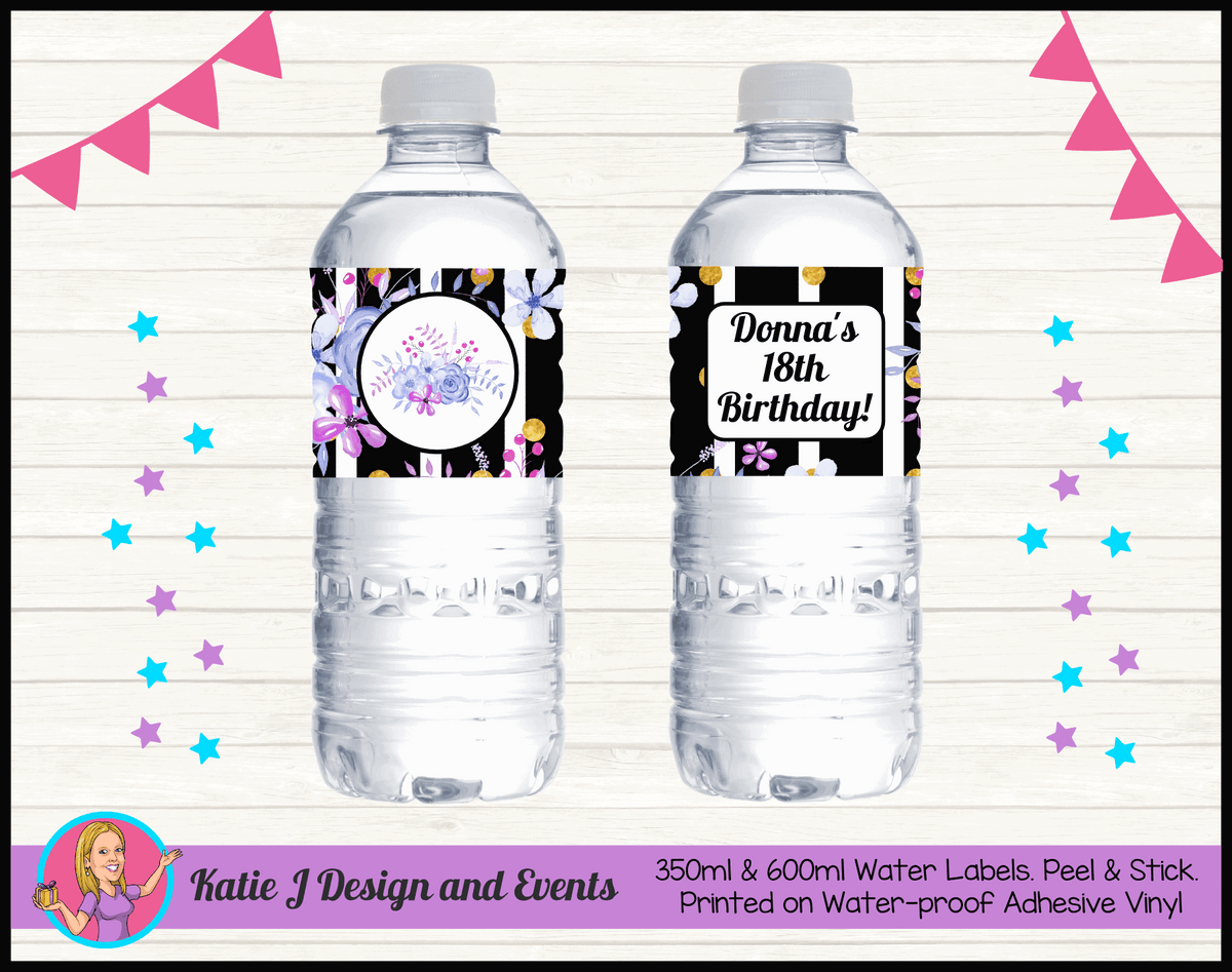 Personalised Modern Floral Party Water Labels