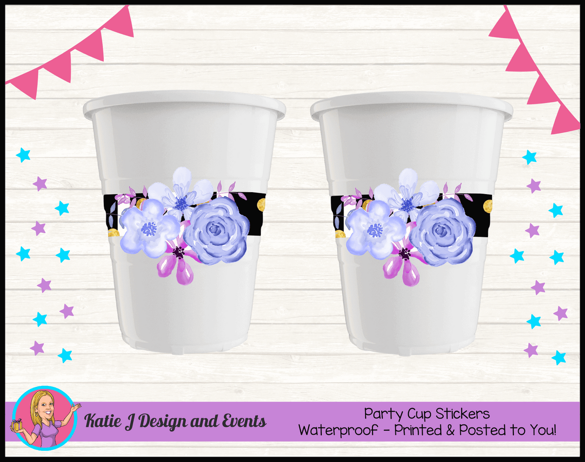 Personalised Modern Floral Party Cup Stickers Cups
