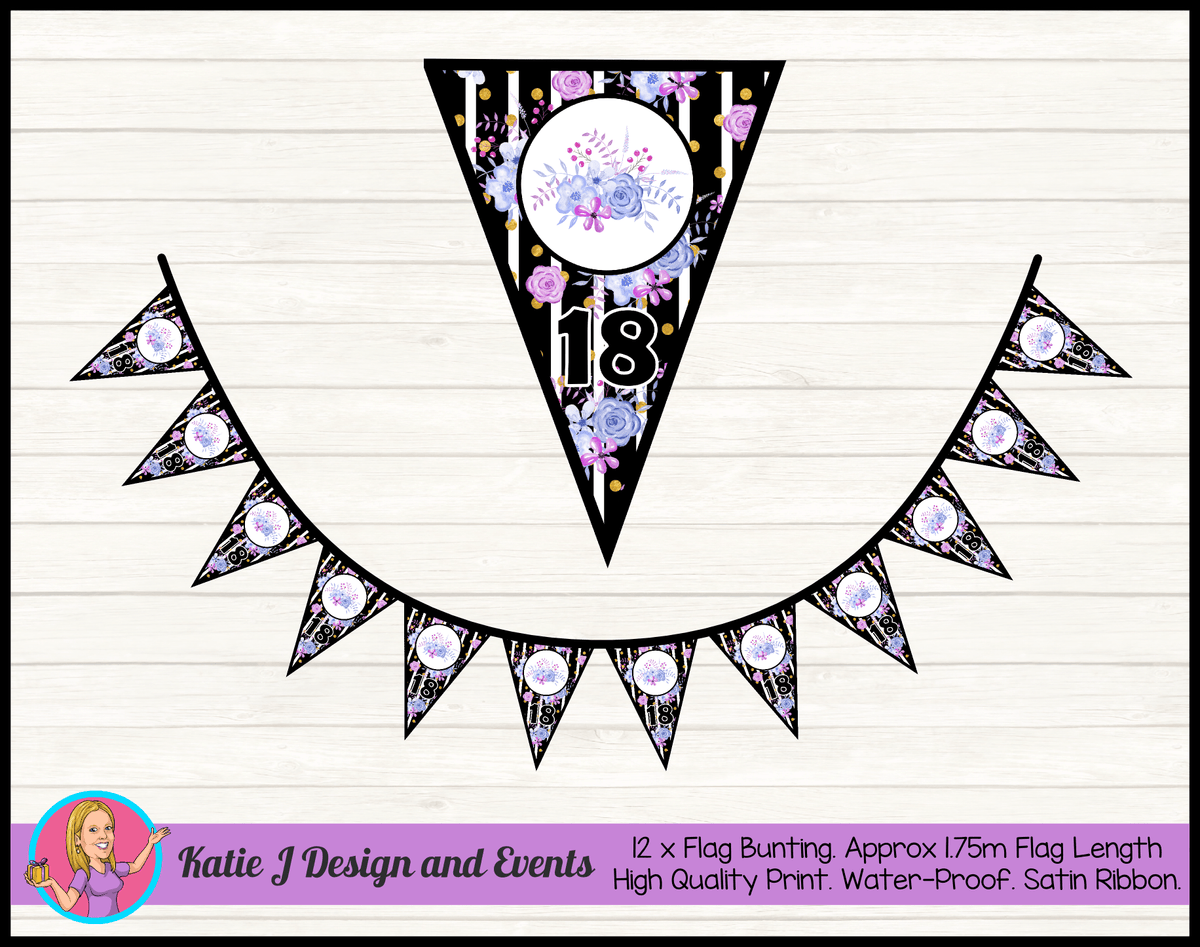 Personalised Modern Floral Birthday Party Flag Bunting