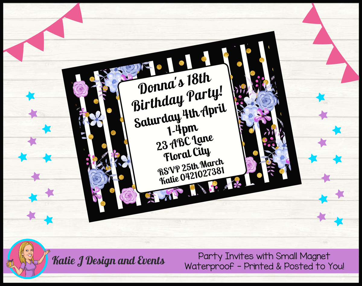 Personalised Modern Floral Birthday Party Invites Invitations