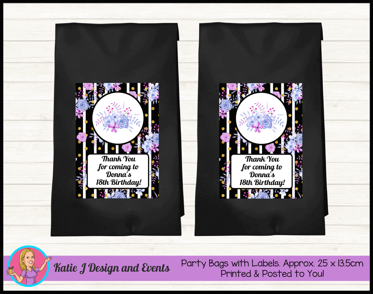 Personalised Modern Floral Birthday Party Loot Bags