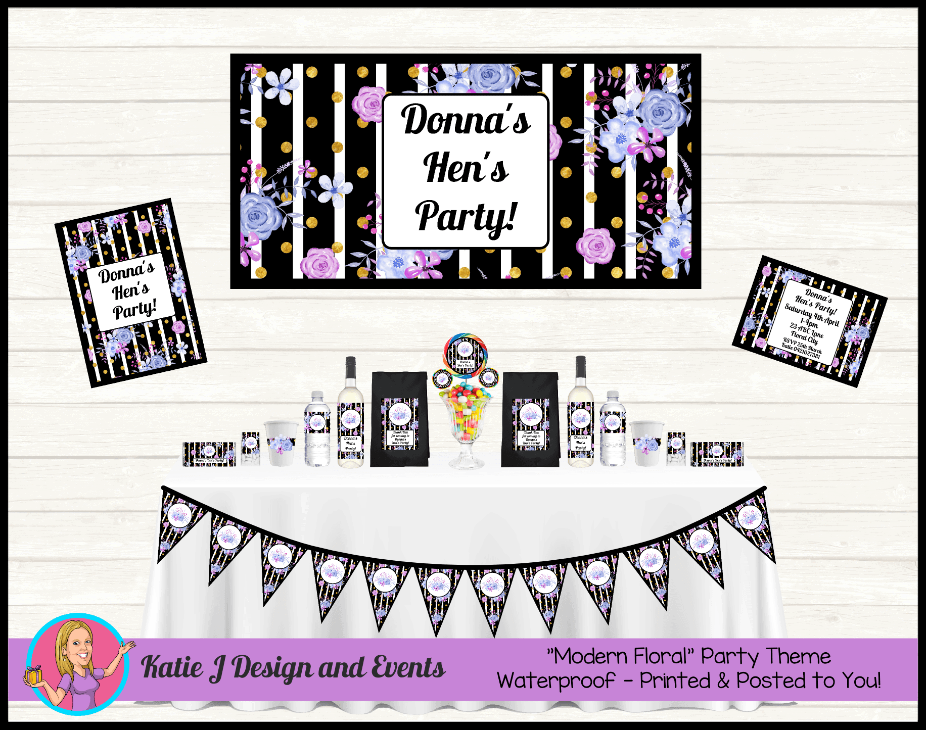 Personalised Modern Floral Hens Party Packs Decorations Supplies