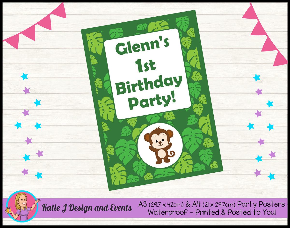 Personalised Jungle Monkey Birthday Party Poster