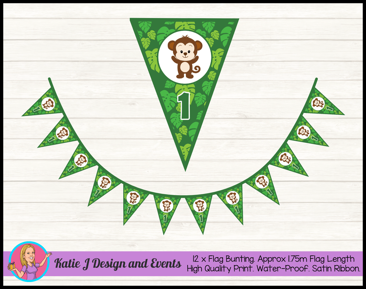 Personalised Jungle Monkey Birthday Party Flag Bunting