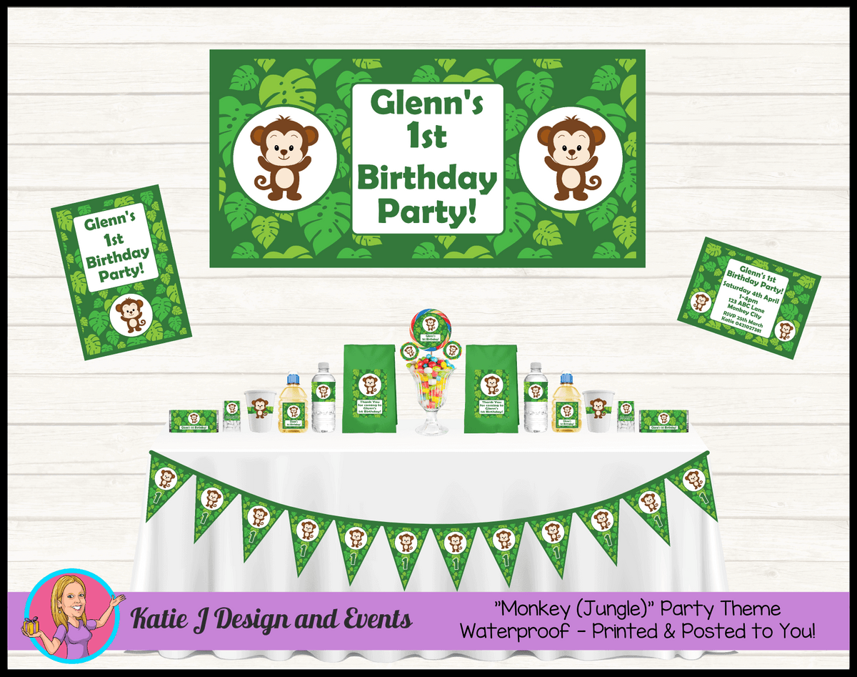 Personalised Jungle Monkey Party Packs Decorations Supplies