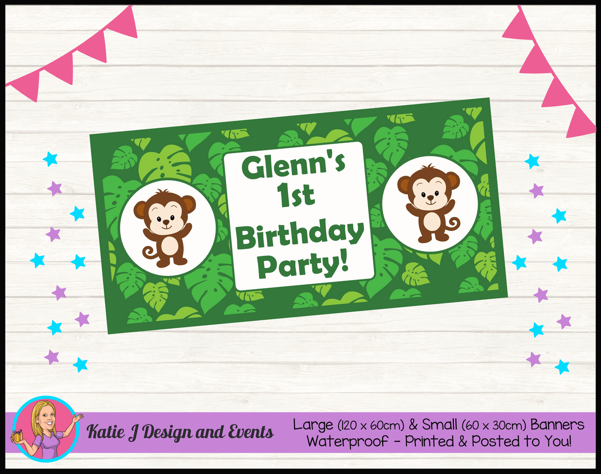 Personalised Jungle Monkey Birthday Party Banner
