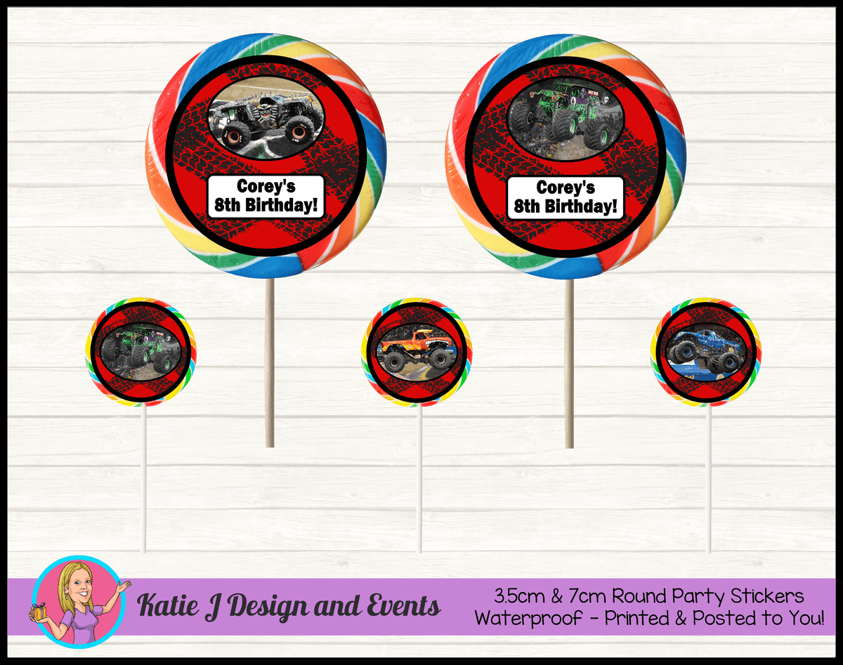 Personalised Monster Jam Trucks Round Lollipop Stickers