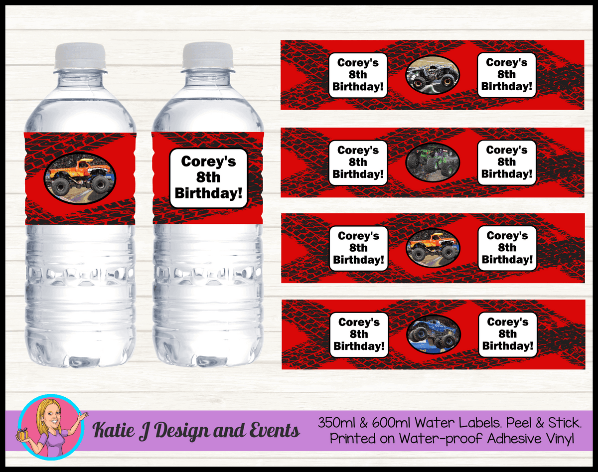 Personalised Monster Jam Trucks Party Water Labels