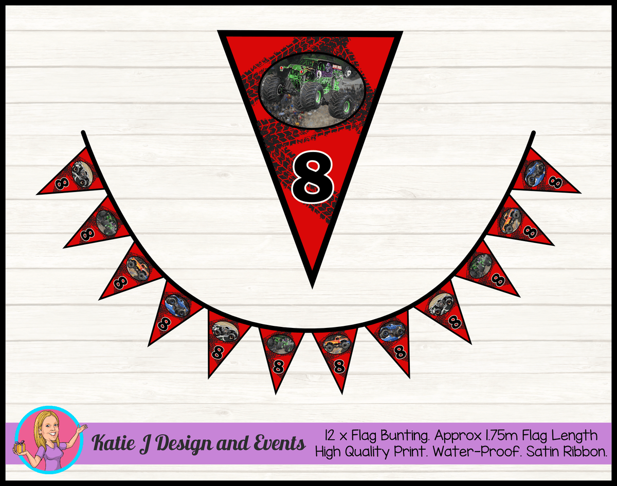 Personalised Monster Jam Trucks Birthday Party Flag Bunting