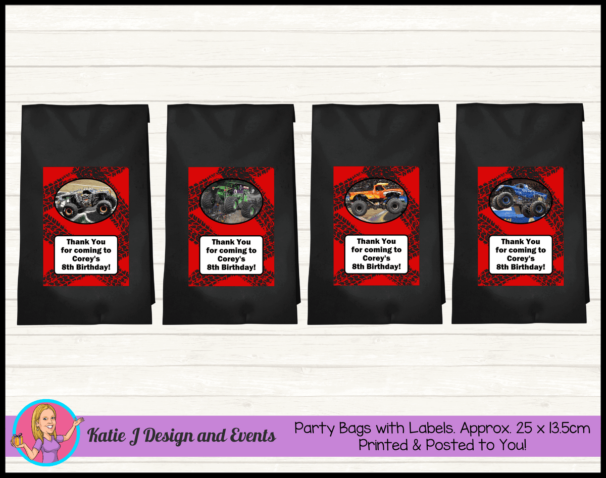 Personalised Monster Jam Trucks Birthday Party Loot Bags