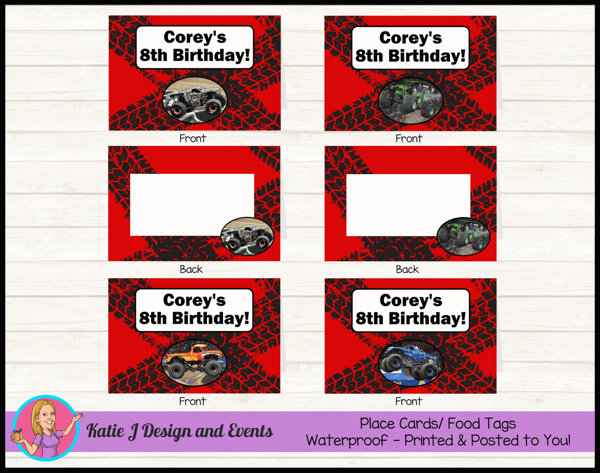 Personalised Monster Jam Trucks Party Place Cards