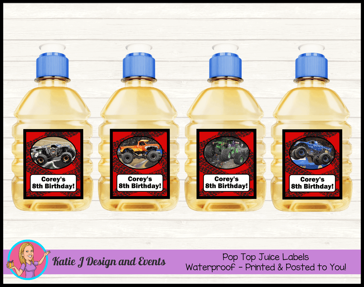 Personalised Monster Jam Trucks Pop Top Juice Labels