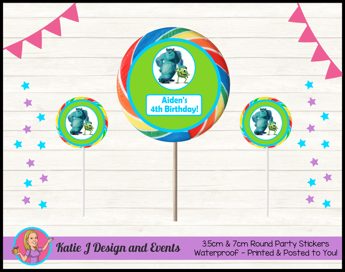 Personalised Monsters Inc Round Lollipop Stickers