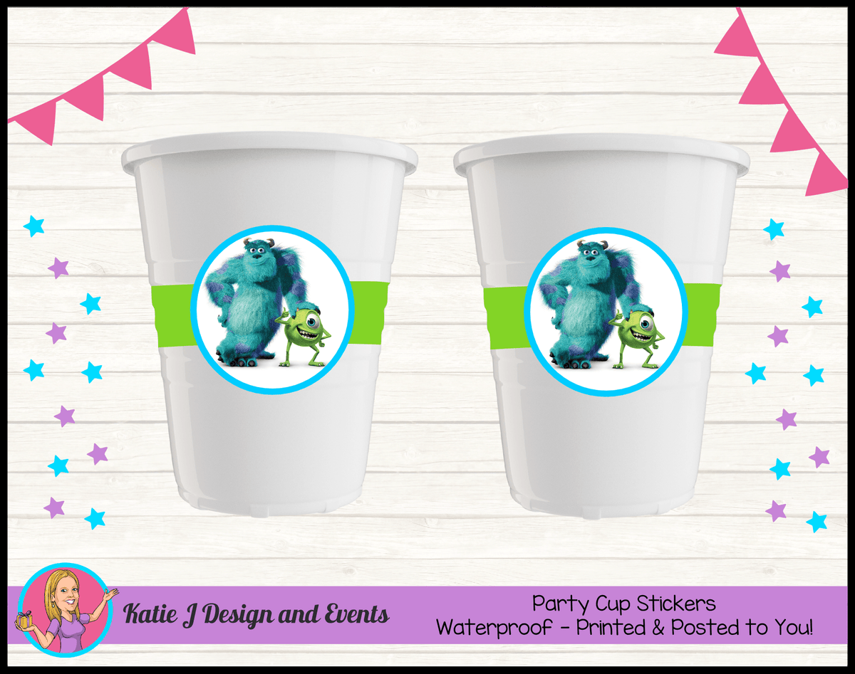 Personalised Monsters Inc Party Cup Stickers Cups