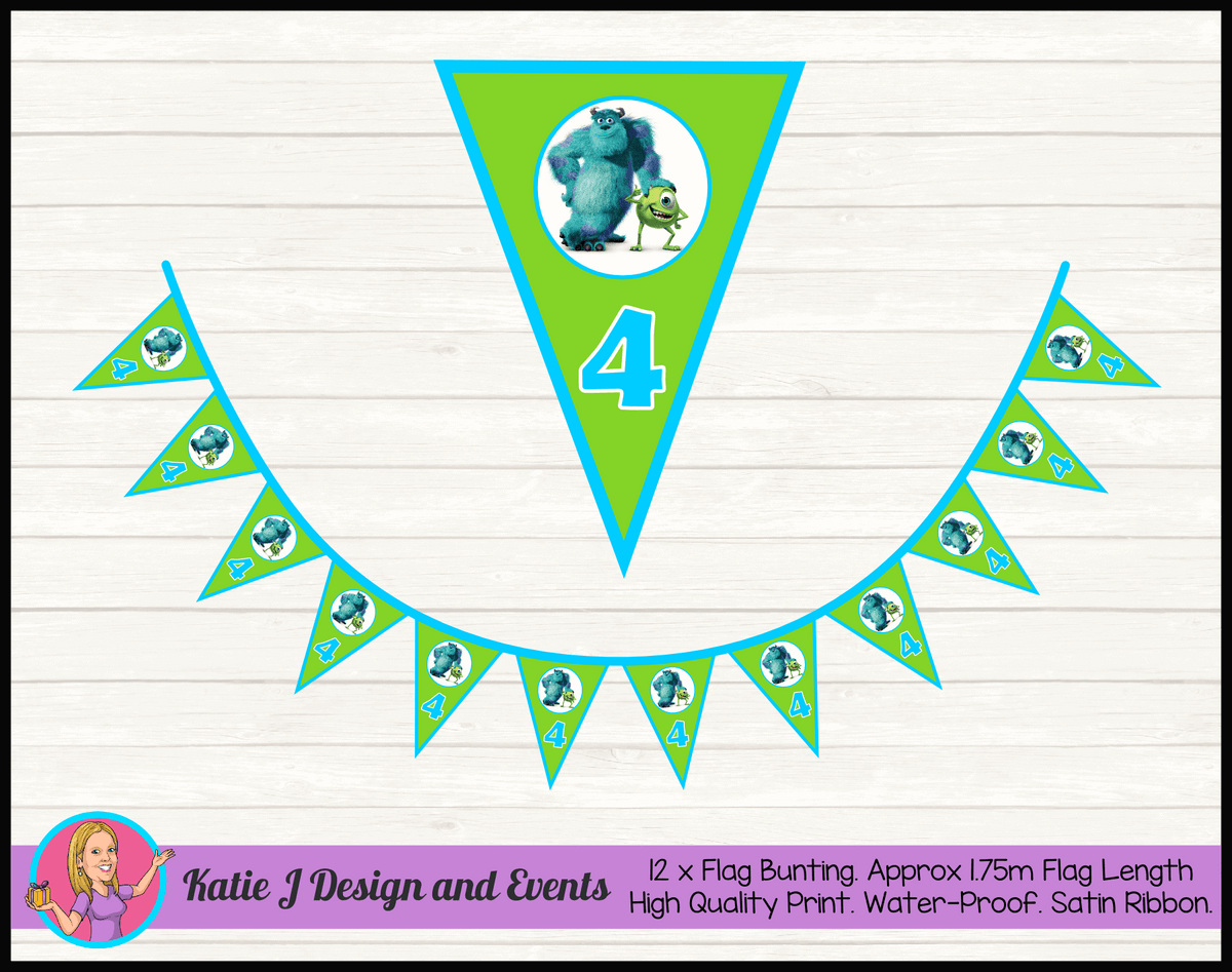 Personalised Monsters Inc Birthday Party Flag Bunting