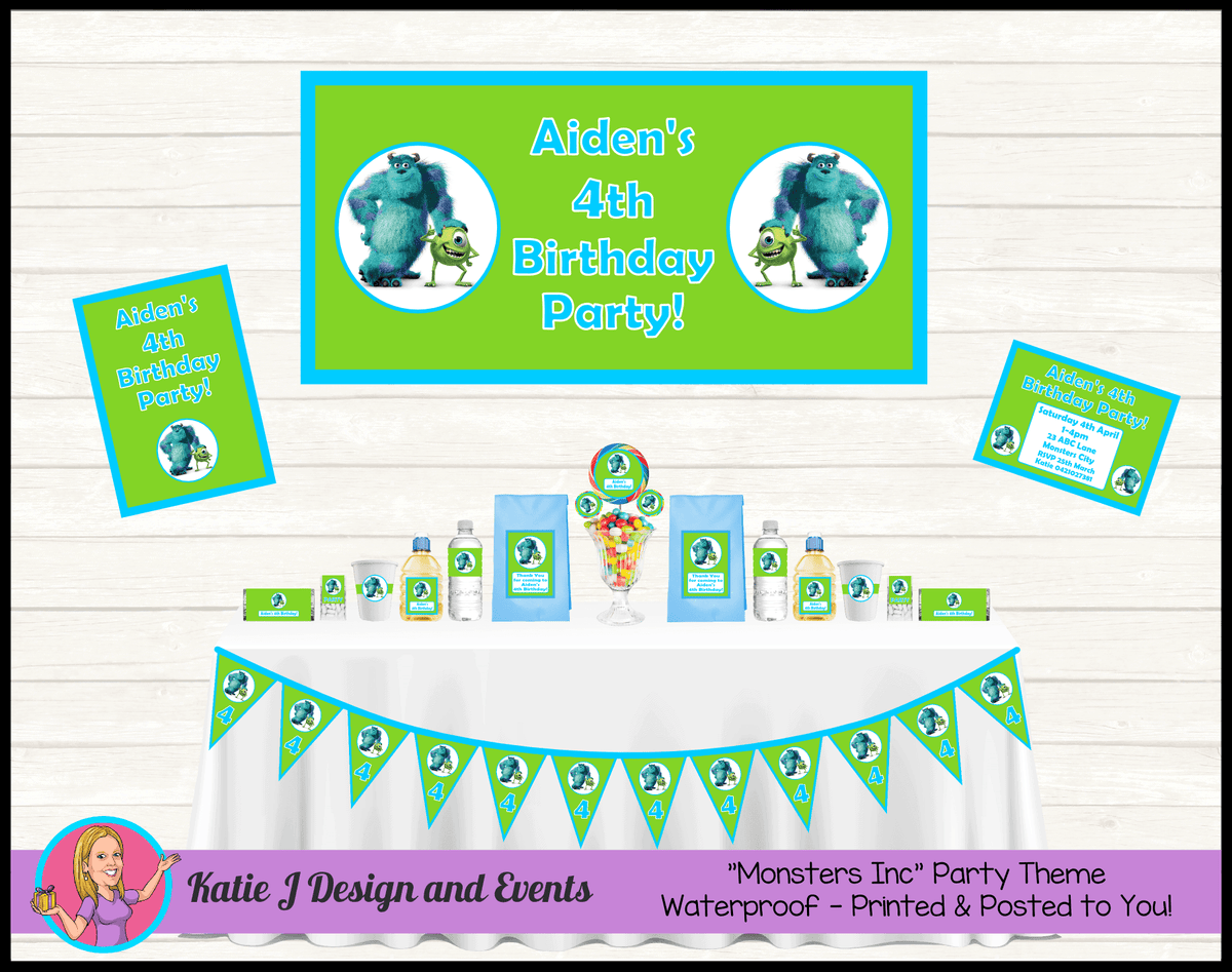 Personalised Monsters Inc Party Packs Decorations Supplies