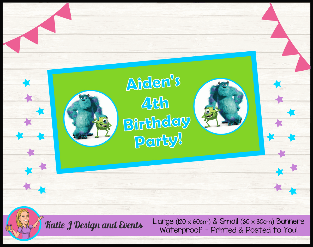 Personalised Monsters Inc Birthday Party Banner