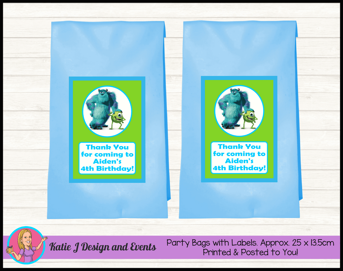 Personalised Monsters Inc Birthday Party Loot Bags