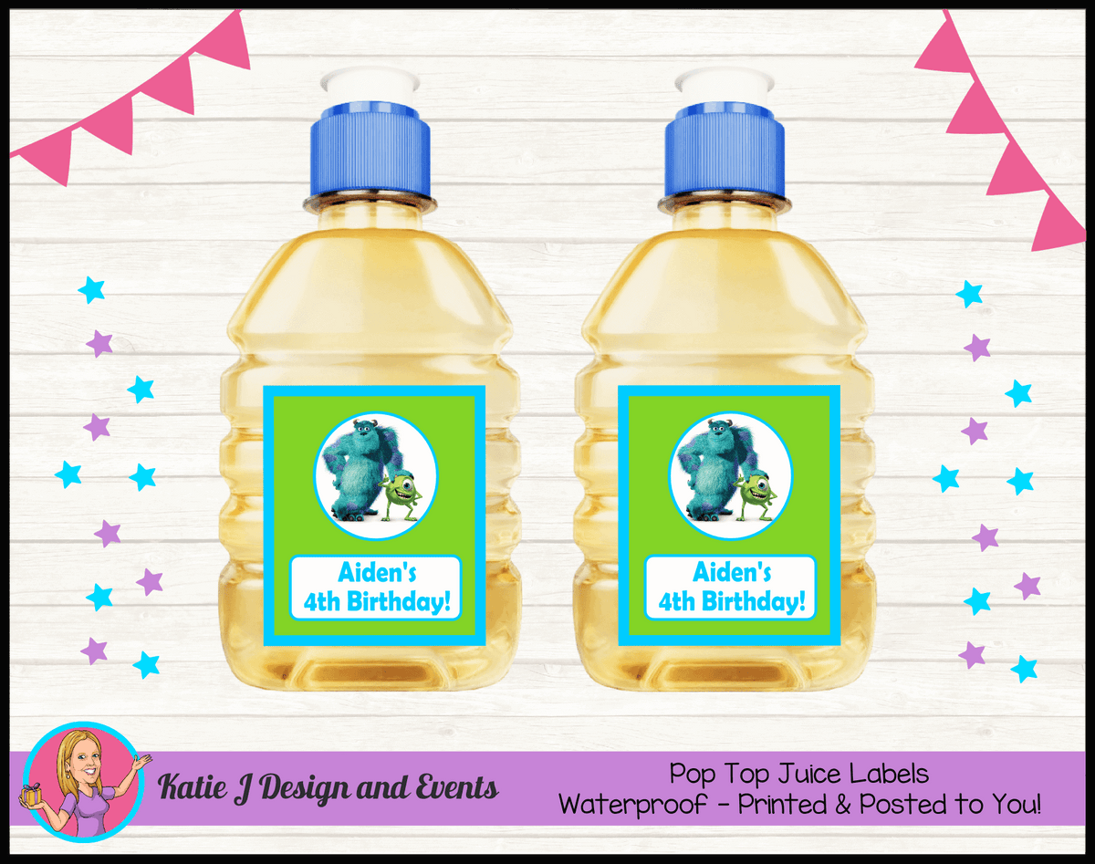 Personalised Monsters Inc Pop Top Juice Labels