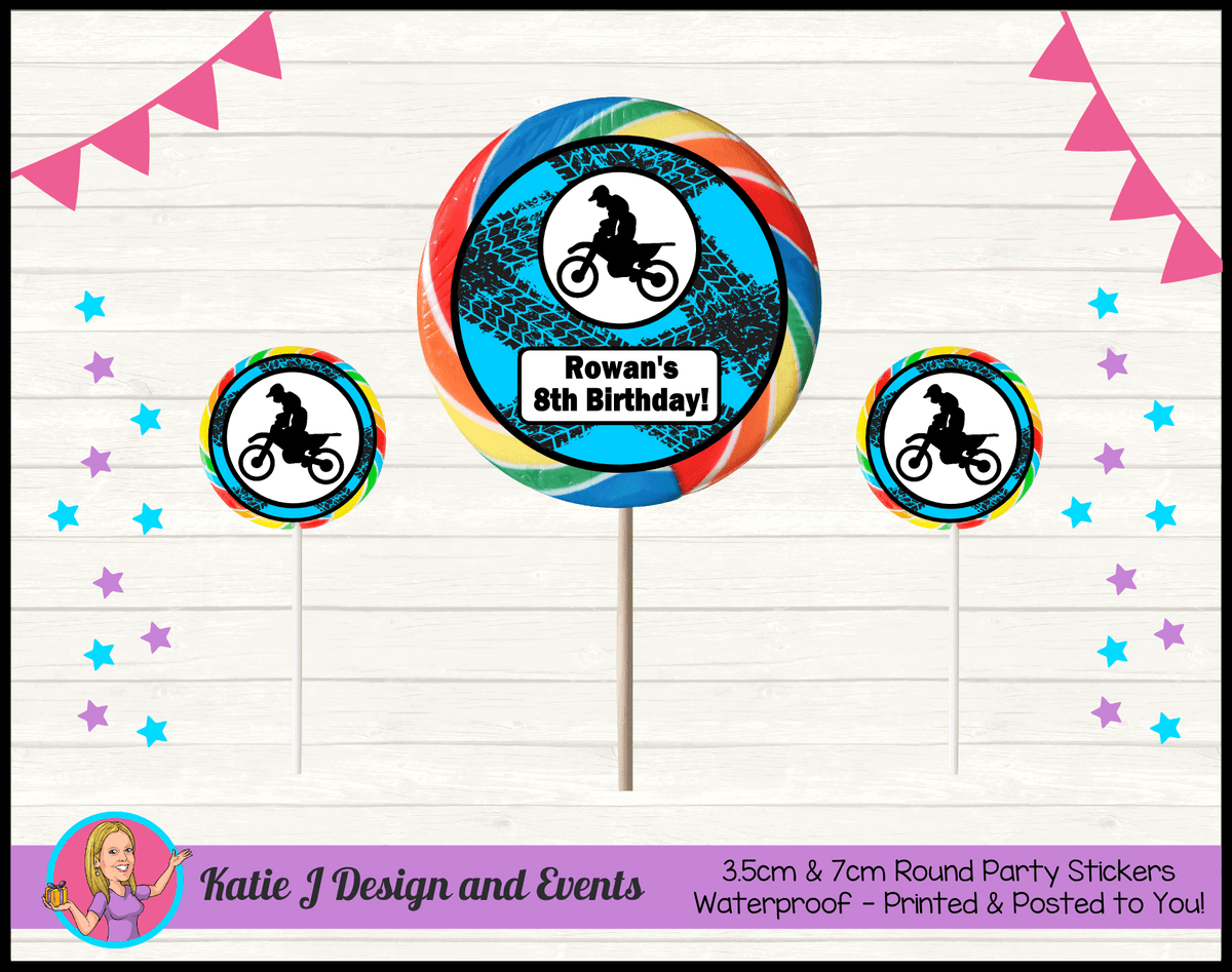 Personalised Motorbike Round Lollipop Stickers