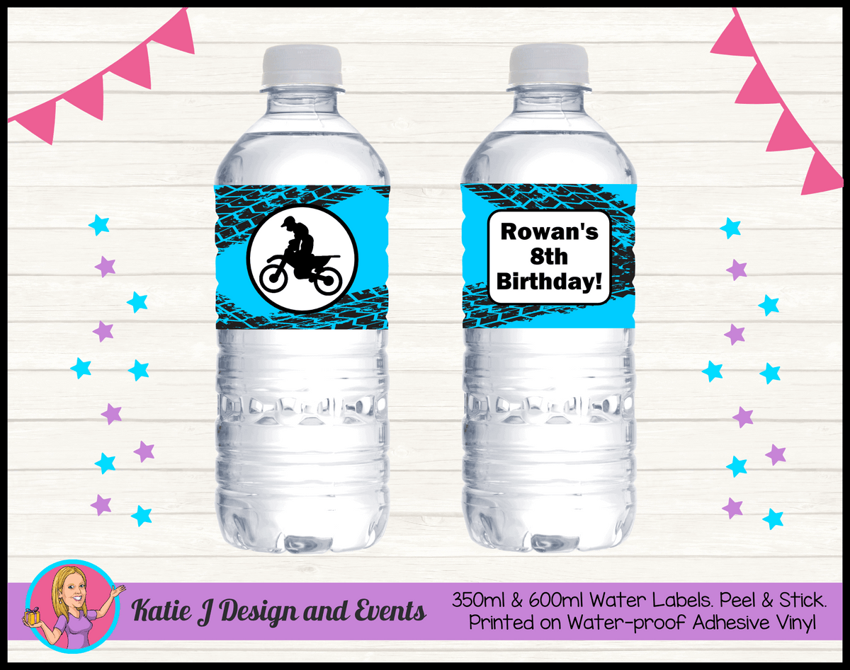 Personalised Motorbike Party Water Labels