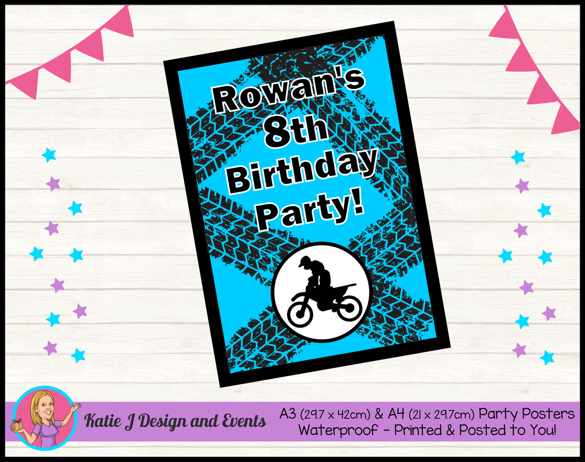 Personalised Motorbike Birthday Party Poster