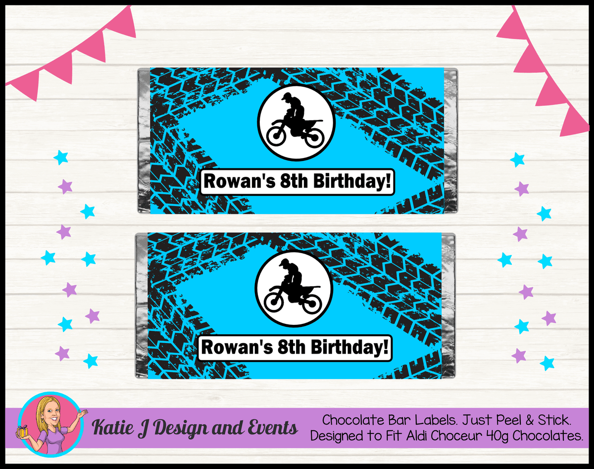Personalised Motorbike Chocolate Labels Wrappers