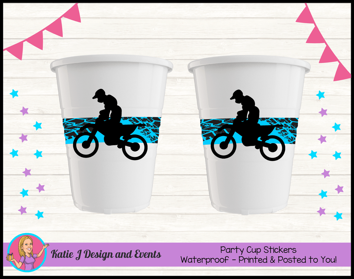 Personalised Motorbike Party Cup Stickers Cups